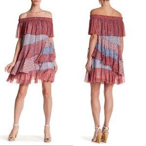 Rebecca Taylor Off Shoulder Silk Amanda Dress